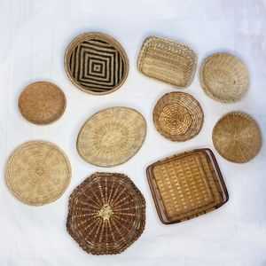 Wicker Basket Vintage Woven Wall Decor Set of 10
